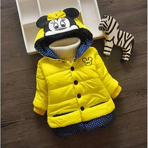 Куртка детская демисезонная  на девочку с минни маус  желтая 2 года, фото 2