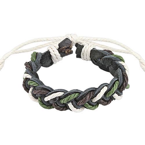 Кожаный плетеный браслет Spikes