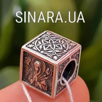 Серебряный шарм бусина Пандора Pandora Семистрельная Богородица - Шарм оберег с молитвой