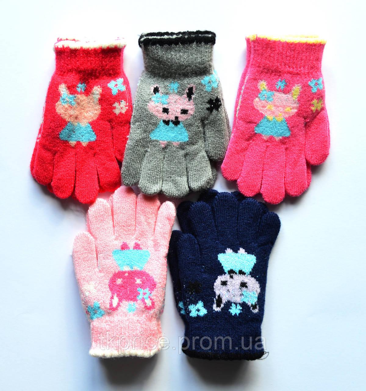 Детские шерстяные перчатки для девочки одинарные - длина 13 см
