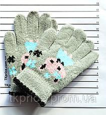 Детские шерстяные перчатки для девочки одинарные - длина 13 см, фото 3