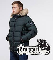Braggart Aggressive 18540 | Мужская куртка с меховой отделкой темно-зеленая
