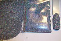 Голографический блеск, втирка для декора ногтей - цвет серебро.