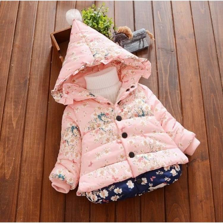 Куртка детская демисезонная  на девочку розовая с цветочками осень-весна