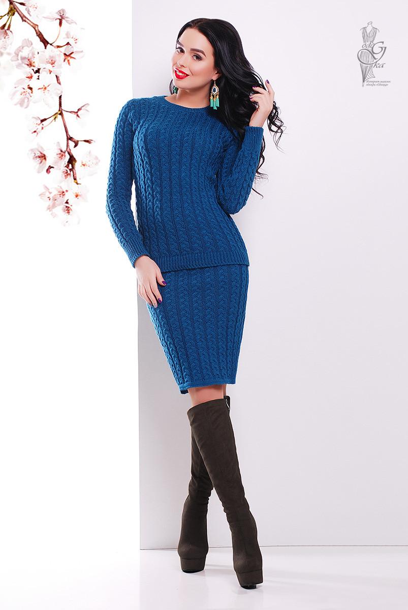 Костюм вязаный стильный Бенита свитер+юбка