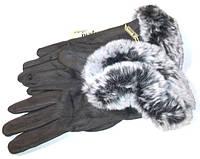 Перчатки замшевые сенсорные с мехом серые размер 8.5