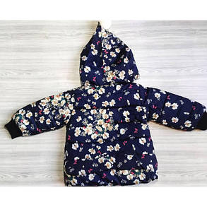 Куртка детская демисезонная  на девочку синяя с цветочками осень-весна, фото 2