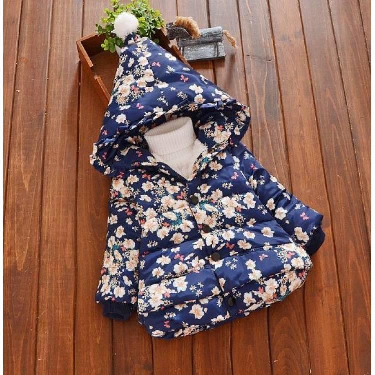 Куртка детская демисезонная  на девочку синяя с цветочками осень-весна
