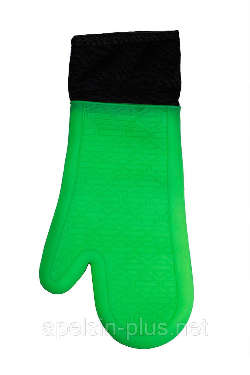 Кухонная силиконовая жаропрочная рукавица с тканевым вкладышем и манжетой 38 см