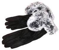Перчатки замшевые сенсорные с мехом черные размер 8.5
