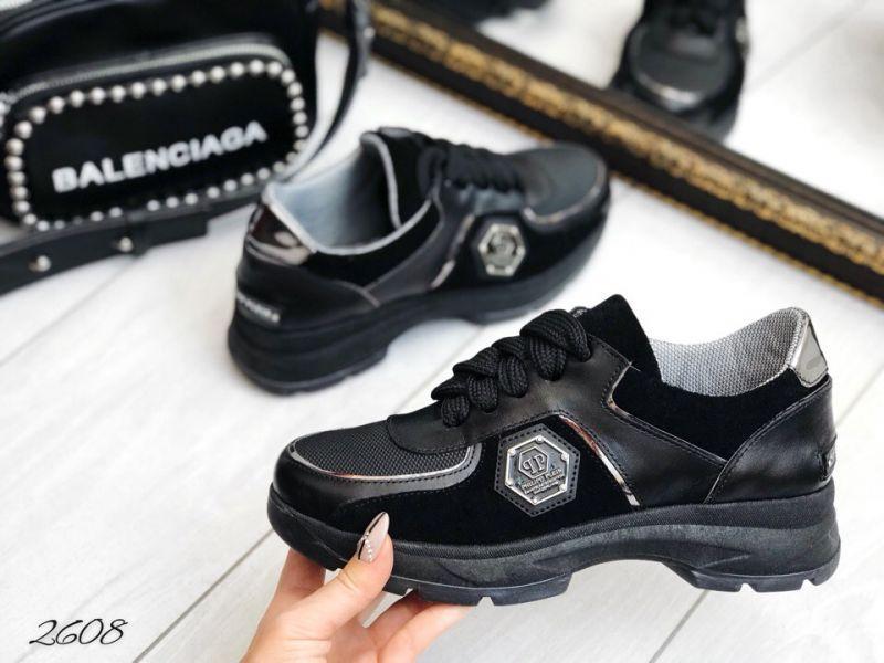 Кроссы черные в стиле РР вставки шерсть. КОЖА 40 размеры