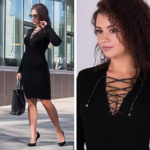 Черное вязаные платье миди с шнуровкой на декольте Рианна