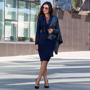 Синие вязаные платья миди с шнуровкой на декольте Рианна