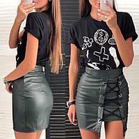 Юбка женская короткая из эко кожи со шнуровкой чёрный марсал беж