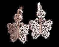 Золотые серьги-подвески Калифорнийская бабочка
