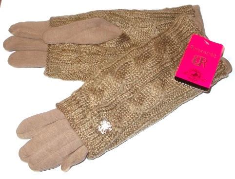 Перчатки и митенки с украшением на плотном флисе 2 в 1 капучино