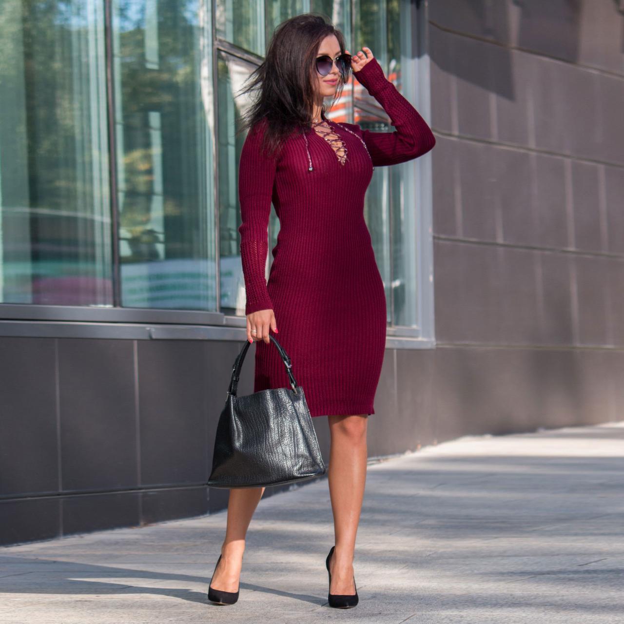 Вязаное платье миди с шнуровкой на декольте Рианна бордо