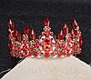 Корона і сережки набір Герда діадема висока прикрас діадема вечірня Тіара червона, фото 6