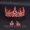 Корона і сережки набір Герда діадема висока прикрас діадема вечірня Тіара червона, фото 9
