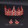 Корона і сережки набір Герда діадема висока прикрас діадема вечірня Тіара червона, фото 7