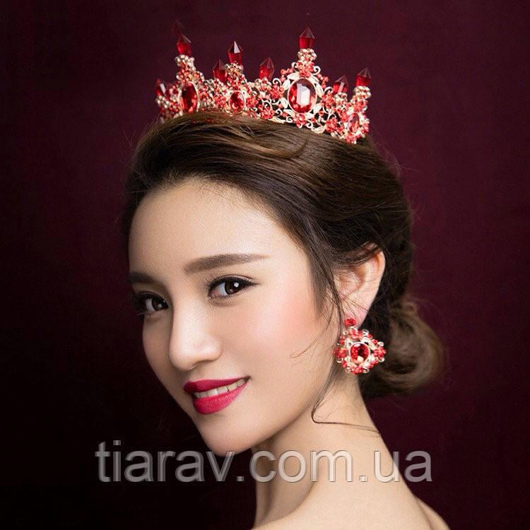 Корона і сережки набір Герда діадема висока прикрас діадема вечірня Тіара червона