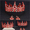 Корона і сережки набір Герда діадема висока прикрас діадема вечірня Тіара червона, фото 10
