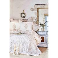 Набор постельное белье с покрывалом Karaca Home - Matteo bej 2018-2 бежевый евро