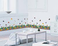 """Интерьерные наклейки на стену """"Заборчик с цветами"""", фото 1"""