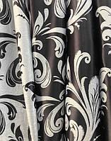 Ткань для штор блэкаут бархатный завиток черно серый