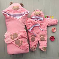 """Зимний набор для выписки и прогулок """"Панда"""" (Конверт+комбинезон с капюшоном+шапочка) розовый"""