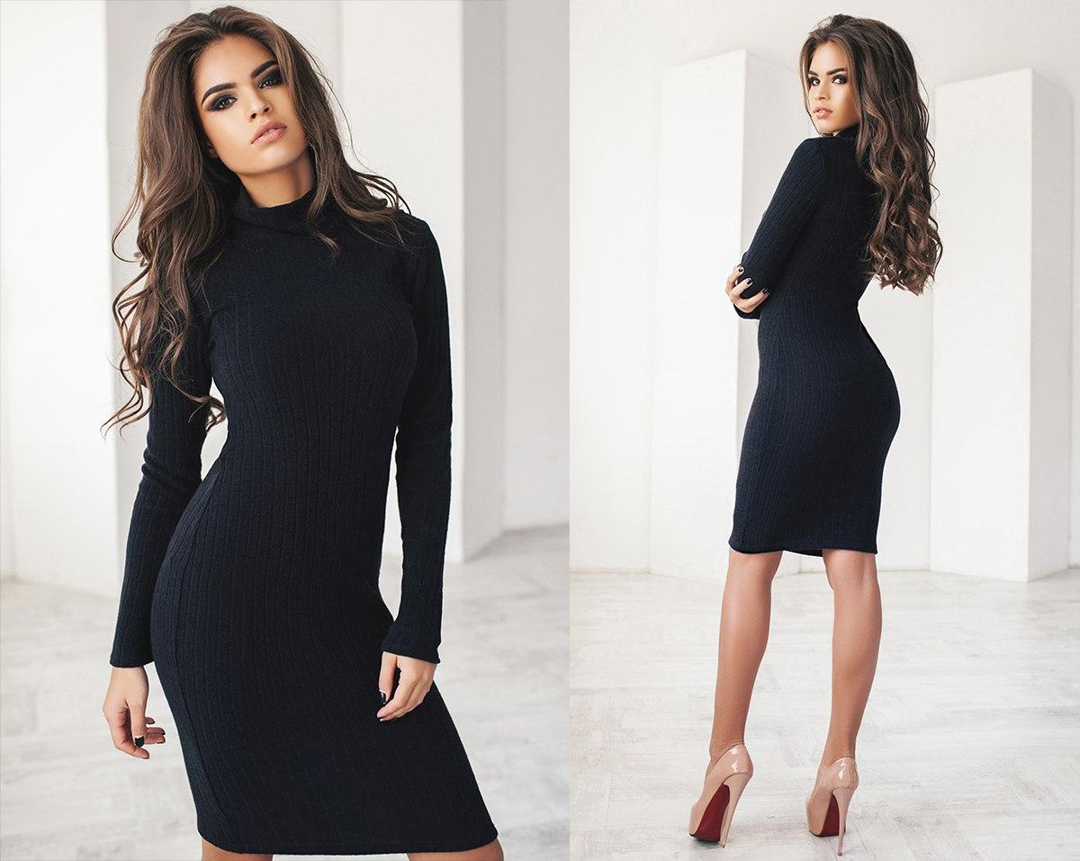 Ангоровое платье - гольф миди, длинный рукав