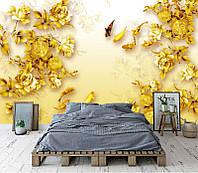 """3D фотообои """"Яркие золотые розы"""""""
