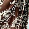 Ткань для штор блэкаут бархатный завиток Катрин Шоколад