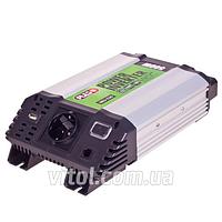 Преобразователь напряжения PULSO 12V-220V/500W/USB-5VDC2.0A/мод.волна/клеммы (IMU-520), (Vitol)