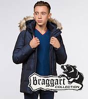 """Куртка зимняя для мальчика Braggart """"Teenager"""" (Браггарт) темно-синего цвета"""