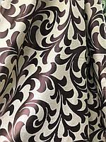 Ткань для штор блэкаут бархатный завиток Шоколад