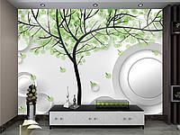 "3D фотообои ""Зелёное дерево на белом фоне"""