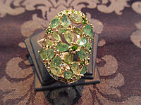Серебряное кольцо с натуральным изумрудом покрытие белым золотом 14 карат