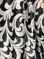 Ткань для штор блэкаут бархатный завиток Катрин Черно серый