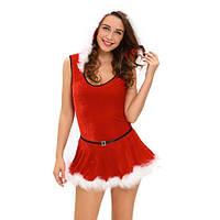 Красный карнавальный костюм-тедди  Санты с капюшоном