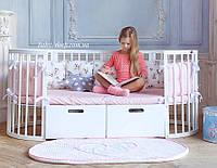 Круглая овальная кроватка трансформер 12в1, Maxi + ящики