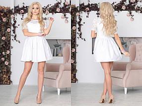 """Приталенное комбинированное мини-платье """"Baby Doll"""" с гипюровым лифом (6 цветов), фото 3"""