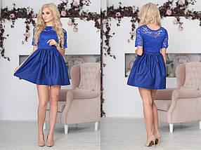 """Приталенное комбинированное мини-платье """"Baby Doll"""" с гипюровым лифом (4 цветов), фото 3"""