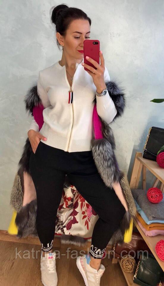 Женский стильный костюм мелкой вязки: белая кофта на молнии и штаны