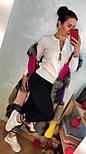 Женский стильный костюм мелкой вязки: белая кофта на молнии и штаны, фото 2