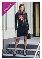 Платье вышитое норма шерстяное размеры 44-46-48-50 цвет  черный