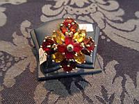 Серебряное кольцо с натуральным камнем цитрин гранат покрытие белым золотом 14 карат