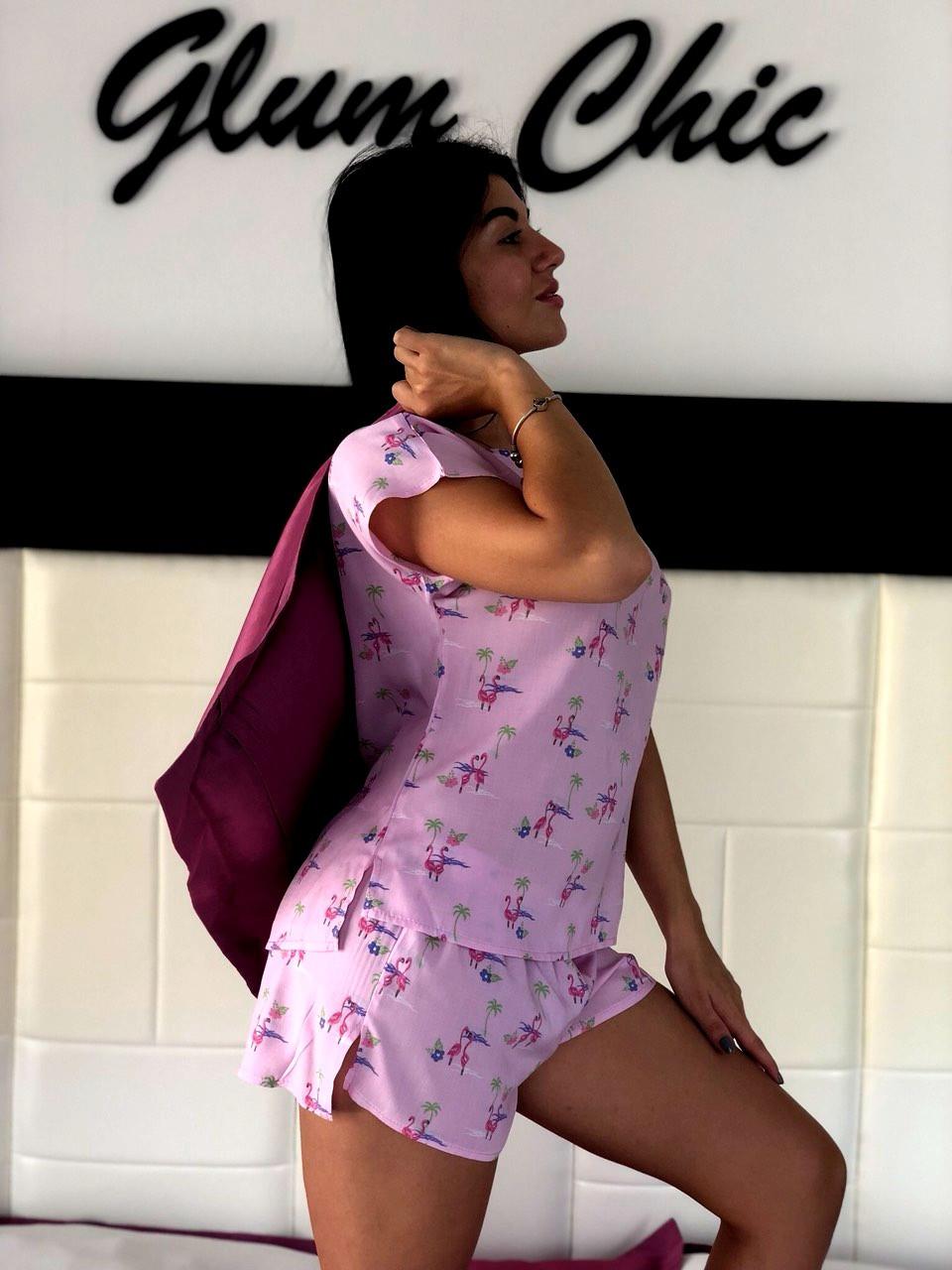 Хлопковая розовая пижама  футболка и шорты