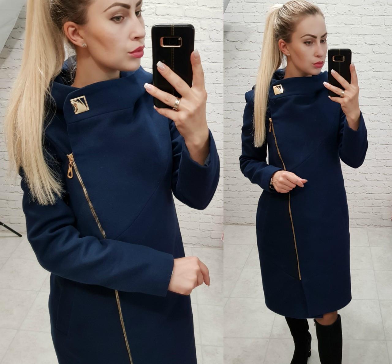 Новинка! Пальто женское с капюшоном, модель  136,  темно синий