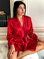 Халат красный для дома женский под пояс